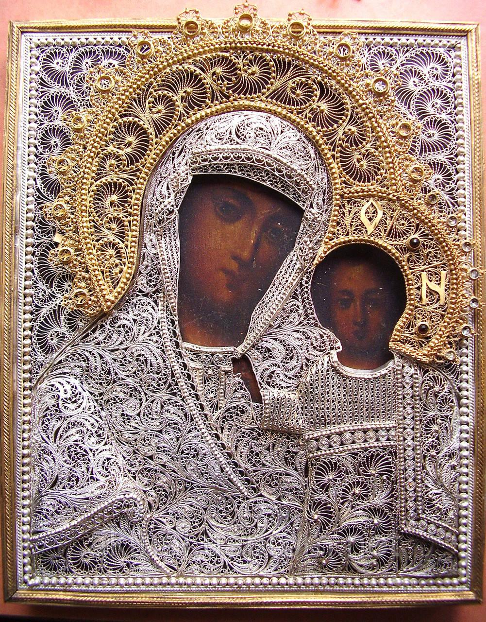 Оклад на икону «Казанская Богородица». Скань.  (Silver 925)
