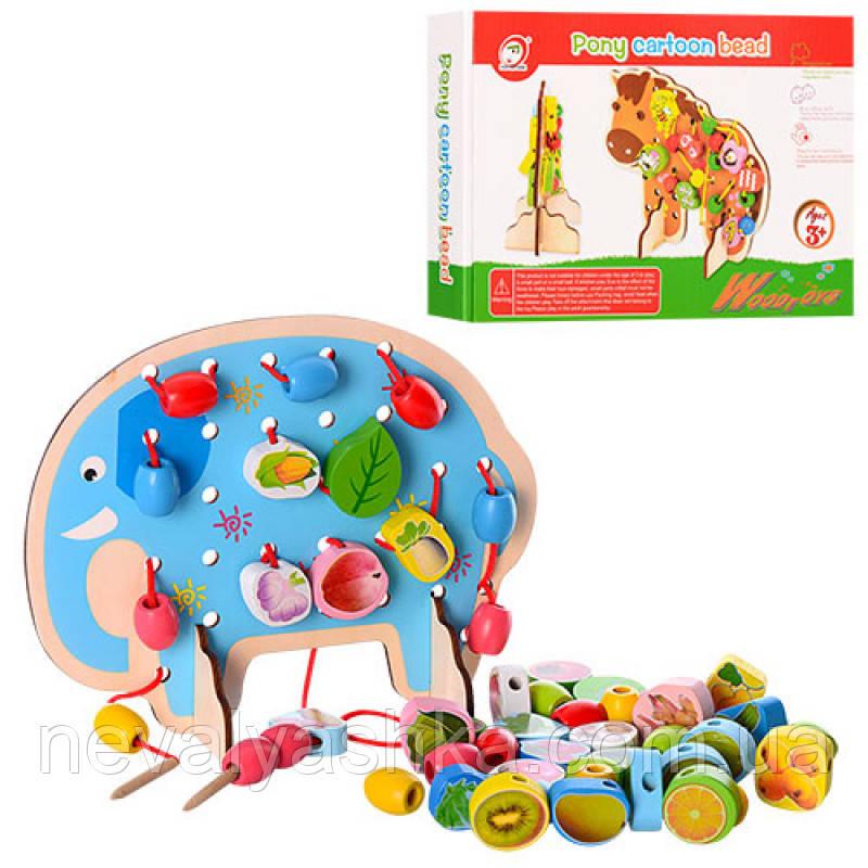 Деревянная игрушка Шнуровка слоник, MD 1085, 005042