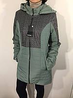 Куртка женская батал оливковая удлиненная 50