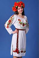 Платье с длинным рукавом с оригинальной вышивкой из льна. Вышиванка. Росшитые рукава.