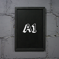 """Меловая доска с рамкой """"Черный"""" форматом А1 вертикальная"""
