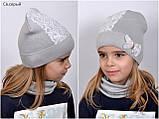 Красивая Весенняя Шапка для девочки с гипюро, фото 3