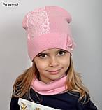 Красивая Весенняя Шапка для девочки с гипюро, фото 4