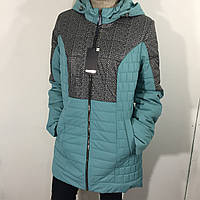 Куртка женская батал бирюза удлиненная 50