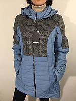 Куртка жіноча батал блакитна подовжена