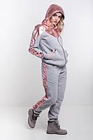 Женский спортивный костюм комбинированный плащевкой теплый