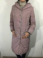 Куртка жіноча батал пудра подовжена