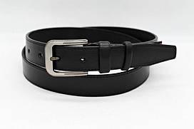 Кожаный ремень ботал 35 мм чёрный гладкий