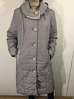 Куртка женская батал серая с крупными пуговицами удлиненная, фото 1
