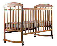 Детская кроватка Наталка, колеса-качалка, светлая
