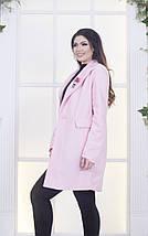 """Женское шерстяное пальто """"PINK"""" с брошью и карманами (большие размеры), фото 2"""