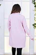 """Женское шерстяное пальто """"PINK"""" с брошью и карманами (большие размеры), фото 3"""