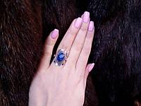 Сапфир кольцо с натуральным сапфиром в серебре 16 размер, фото 1