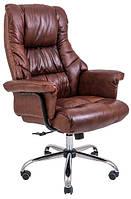 Кресло руководителя Министр коричневое Кожа-люкс. хром