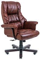 Кресло руководителя Министр коричневое Кожа-люкс. Вуд