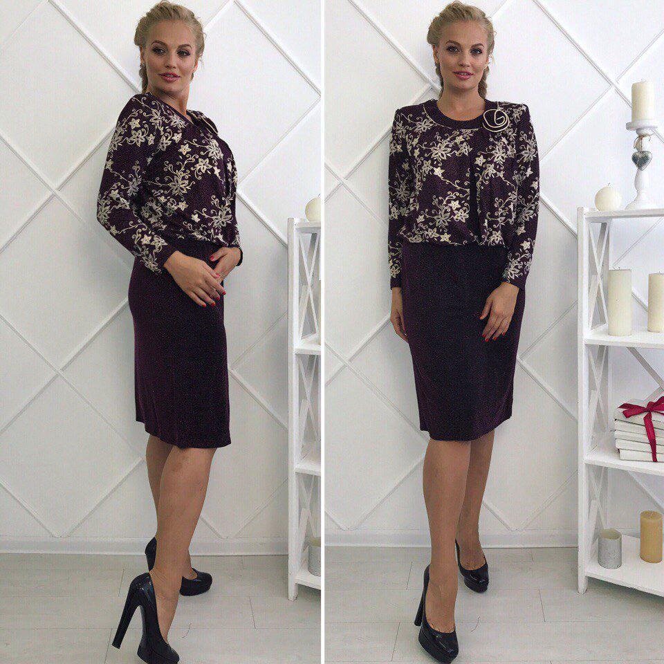 """Модное и элегантное блестящее женское платье ткань """"стрейч сетка+рюлексная нить"""" 56, 60 размер батал"""