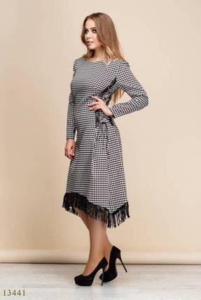 """Стильное женское платье в клетку, ткань """"Стрейч-Коттон"""" со вставками из эко-кожи 50, 52, 54 размер батал, фото 2"""