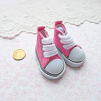 Обувь для кукол, кеды на шнуровке ярко-розовые - 5*2.5 см