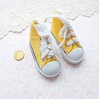 Обувь для кукол, кеды на шнуровке желтые - 7*3 см, фото 1