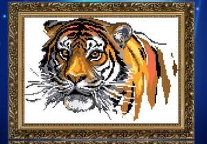 """Алмазная вышивка """"Тигр на белом фоне""""(набор для рисование камнями) - Интернет магазин  """"Ромашка"""" в Ивано-Франковске"""