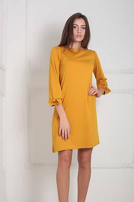 (S, M, L, XL) Трикотажне гірчичне плаття Emma