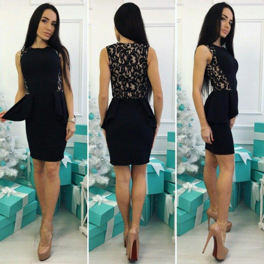 """Шикарное женское платье с баской и кружевом, ткань """"Креп-Дайвинг"""" 46 размер норма"""