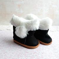 Обувь для кукол, сапожки с мехом и бахромой черные - 7*4 см
