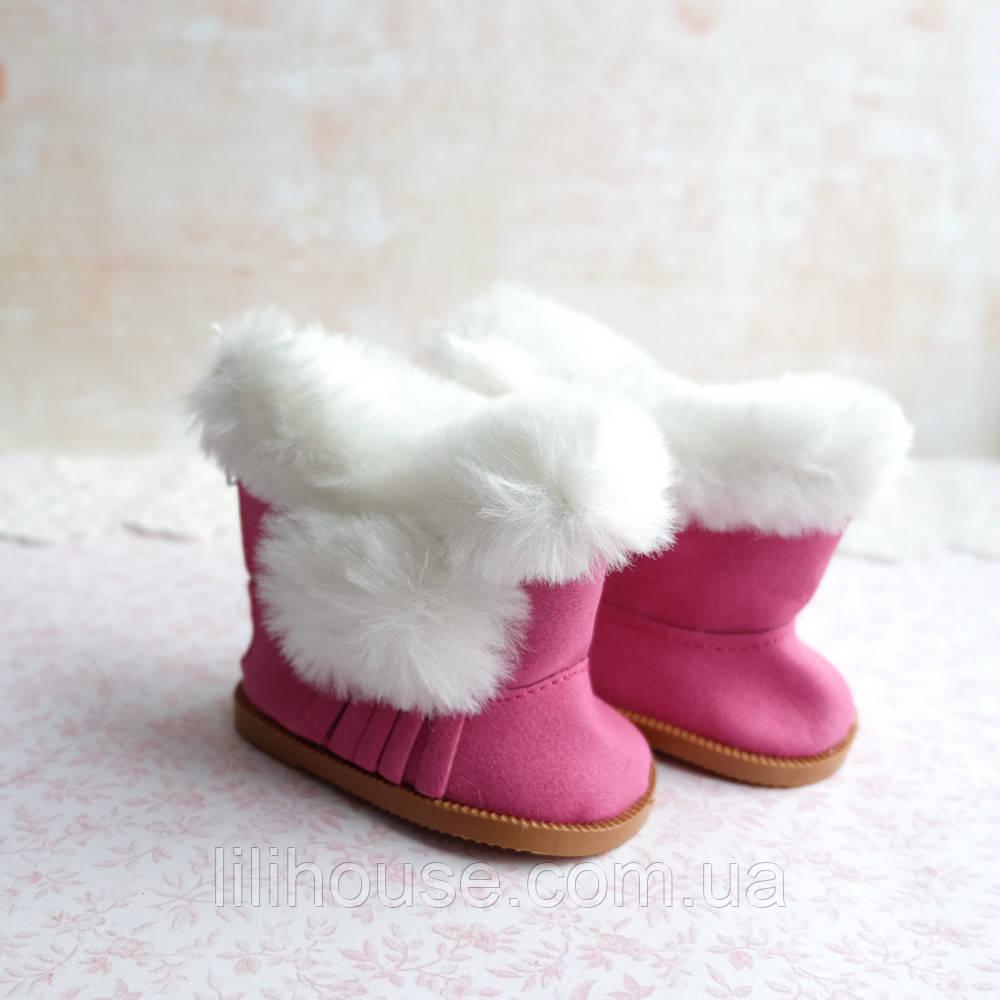 Обувь для кукол Сапожки с Мехом и Бахромой 7*4 см ЯРКО-РОЗОВЫЕ