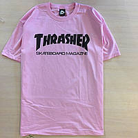 Футболка розовая Thrasher Skateboard Magazine logo | Оригинальная бирка, фото 1