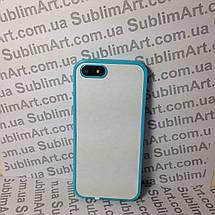 Чехол для 2D сублимации резиновый (TPU) Iphone 5/5S голубой, фото 3