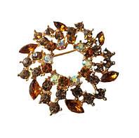 Брошь (брошка) Золотая Янтарный цветок со стеклянными стразами 5 см 1 шт