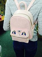 Розовый кожаный рюкзак со стразами , casual глиттер со стразами