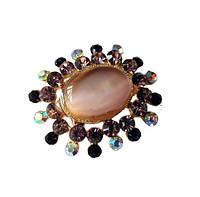 Брошь (брошка) Золотая Овал цветок лунный камень со стеклянными стразами 3x3.6 см 1 шт