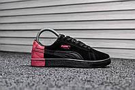 Женские кроссовки Puma Pigeon черно-розовые топ реплика
