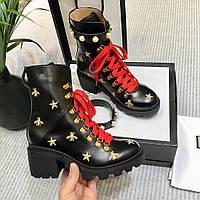 Ботинки кожаные на тракторной подошве Gucci