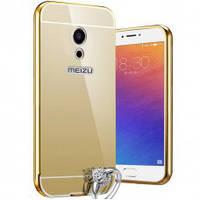 Бампер металлический с акриловой вставкой  с зеркальным покрытием для Meizu M5 Note Gold