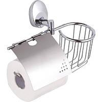 Держатель для туалетной бумаги с крышкой + полочка сетка Trento Orlando 26445