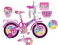 """Велосипед двухколесный 12 дюймов """"Little Pony"""" со звонком, зеркалом и страховочными колесами"""