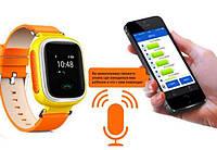"""Детские умные GPS часы Smart Baby Watch Q100 с трекером отслеживания цветной сенсорный экран WiFi  1"""" (оранж)"""