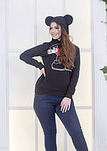 """Трикотажная женская толстовка """"MICKEY"""" с принтом и капюшоном (большие размеры), фото 2"""