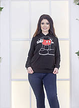 """Трикотажная женская толстовка """"MICKEY"""" с принтом и капюшоном (большие размеры), фото 3"""