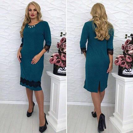 """Милое женское платье ткань """"двунитка с плетением рюлексной нити"""" с украшением 52, 54 размер батал, фото 2"""
