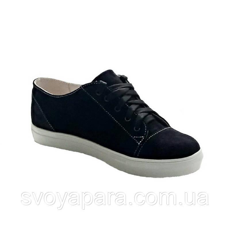 Кроссовки женские черные замшевые(00591)