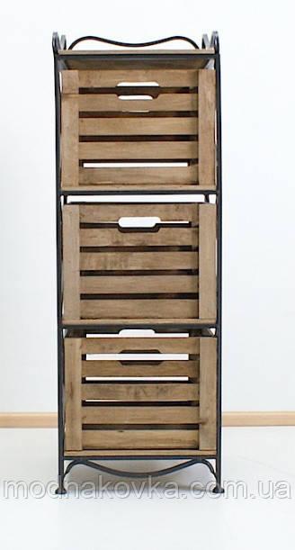 Этажерка кованая (комод металлический) на 3 ящика вертикальная черная