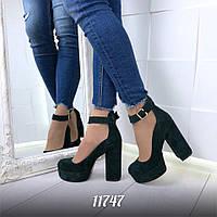 Туфли замшевые, зеленый