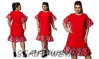 """Уникальное красное женское платье с воланом ткань """"костюмная ткань"""" 54, 58 размер батал"""