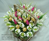 """Букет подснежников из конфет """"Весеннее чудо-макси""""№47+15, фото 1"""