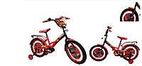 """Велосипед двухколесный 14 дюймов """"Тачки"""" со звонком, зеркалом и страховочными колесами, ручным тормозом"""