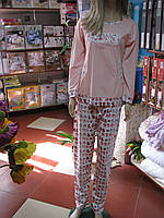 Стильная теплая пижама подростковая в персиковом цвете