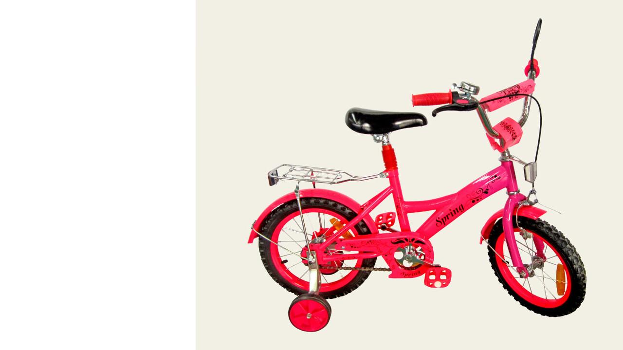 """Велосипед двухколесный 14 дюймов """"Spring"""" со звонком, зеркалом и страховочными колесами, ручным тормозом"""